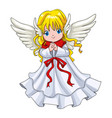 cute cartoon an angel vector image vector image
