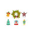cute christmas cartoon characters set funny vector image vector image