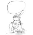 drawing teenage girl eating food and thinking vector image vector image