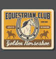 equestrian club jockey polo horse riding sport vector image vector image