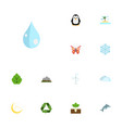 flat icons electric mill isle beach sprout and vector image vector image