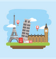global explore travel with passport and ticket vector image
