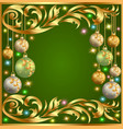 gold background frame festive ball winter vector image vector image
