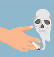 hand with cigarette smoke skull vector image
