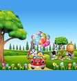 happy easter rabbit riding a car with chick holdin vector image vector image