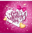 happy valentines day lettering with paper vector image vector image