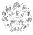 india icons set indian attractions line design vector image vector image