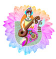 indian goddess saraswati playing on veena astride vector image