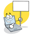 Laptop Holding a Blank Sign vector image vector image