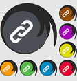 link icon sign Symbols on eight colored buttons vector image vector image