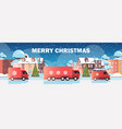 lorry trucks delivering gifts merry christmas vector image