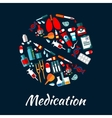 Medication poster with icons in pill shape vector image vector image