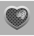 Metal heart with silver gears on the dark vector image vector image