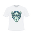 Polygonal head of tiger on white t-shirt in vector image vector image
