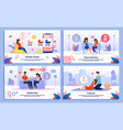 pregnant woman life scenes flat banners set vector image vector image