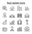 real estate icon set in thin line style vector image