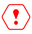 red hexagon exclamation mark icon warning sign vector image vector image