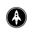 rocket round flat icon vector image vector image