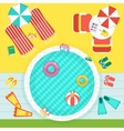 round pool on beach vector image vector image