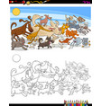 running dogs and cats characters color book vector image vector image