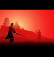 samurai duel vector image