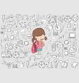 schoolgirl pupils back to school background vector image vector image