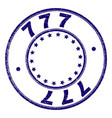 scratched textured 777 round stamp seal vector image