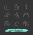 set of bakery icons line style symbols with loaf vector image