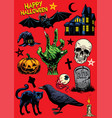 set of hand drawing of halloween objects vector image vector image