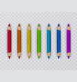 set of multicolored pencils on transparent vector image