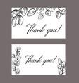 set thank you card with sketch eucalyptus vector image vector image