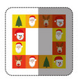sticker colorful square christmas frame decorative vector image