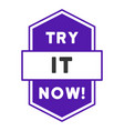 try it now stamp flat icon vector image vector image