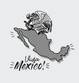 viva mexico poster with map striped and emblem of vector image