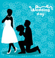 wedding card with the newlyweds on the background vector image vector image