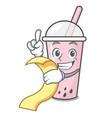 with menu raspberry bubble tea character cartoon vector image