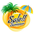 yellow abstract sun with summer sale text vector image vector image