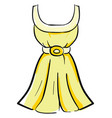 yellow dress on white background vector image vector image