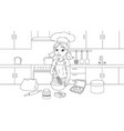 young girl prepares a cake vector image vector image