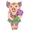zentangle drawing pig with flower for decoration vector image vector image