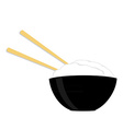 Rice bowl with two chopsticks vector image