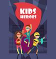brave superhero kids cartoon poster vector image