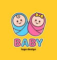boy and girlbaby showernewborn logo vector image