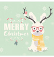 Merry Christmas postcard hipster rabbit antlers vector image