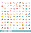 100 kids icons set cartoon style vector image