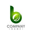 b letter eco logo isolated on white background vector image