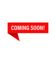 banner coming soon on red ribbon isolated element vector image vector image