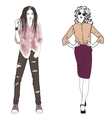 Beautiful fashion and street hip hop girl styles vector image vector image