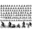 bicyclists silhouettes collection vector image vector image