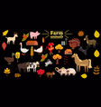 big set of farm animals pig rabbit cow bull vector image